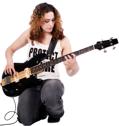 Girl Playing Bass Guitar